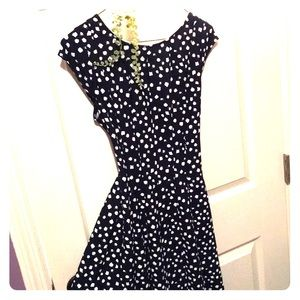 ELLE Royal Navy Polka Dot Dress